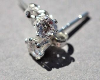 4mm cubic zirconia and sterling silver stud earrings, April birthstone earrings