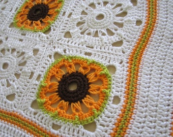 "Crochet Broomstick 7"" (18 cm) Granny Square PDF ePattern, Sunflower for Afghan"
