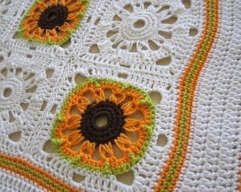 "Crochet Broomstick 7"" (18 cm) Granny Square PDF Pattern, Sunflower for Afghan"