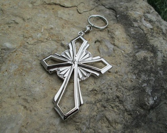 beautiful  cross  with crystals key chain