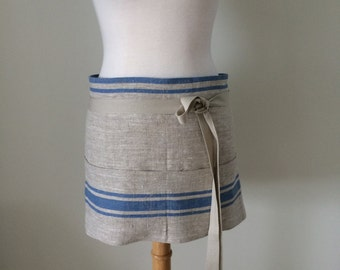 Half Apron Woman Lithuanian Linen Blue Stripe Caterer Cook Utility Made and Ready to Ship