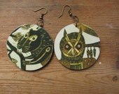 Recycled Paper Boho Earrings, Owl Earrings, Forest Creatures, Woodland Animals, Upcycled Children's Book Art, First Anniversary Paper Gifts