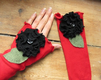 Red Arm Warmers with Black Roses made from Upcycled Sweaters, Gothic Wrist Warmers, Driving Gloves, Boho Fingerless Gloves, Texting Gloves