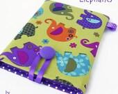 ELEPHANTS Kindle Paperwhite Case, Kobo Aura Cover, Nook GlowLight Sleeve. Purple Polka Dots. Wales UK.