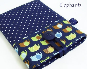 ELEPHANTS Tablet Cases, iPad Mini Cover, Kindle Fire Case, Nexus 7 Cover, Galaxy Tab Case, Nook HD Cover, Polka Dots, Navy Blue, Wales UK.