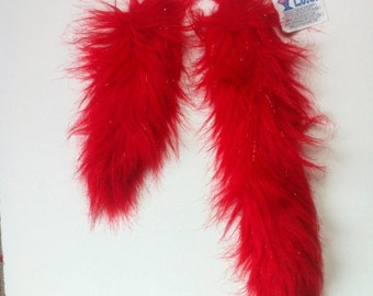 """SPARKLE RED Faux Fur Tail - One High Quality 3"""" pile Sparkle  RED Faux Fur Tail - sizes 10"""" or 16""""  - Clip on Fur Tail"""