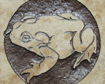 4x4 Toad Tile - Etched Travertine Stone Decorative Tile