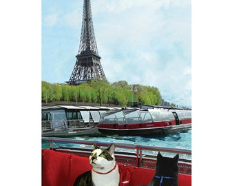 Funny Cat Cards, Black Cat Card, Cats in Paris Handmade Greeting Cards, Funny, Blank Note Cards, Cat Artwork by Deborah Julian