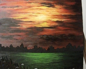 Sunset, Sunrise, Field, Flowers, Night, Clouds, Meadow, Clearing, Original Landscape Oil Painting
