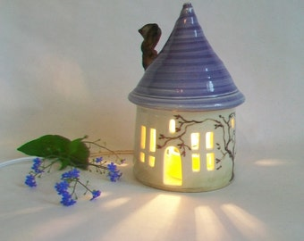 Garden Fairy House/ Night Light - Lavender/Purple Roof,  Chimney - Wheel-Thrown Pottery - Hand Painted Vine - Ready to Ship/Options