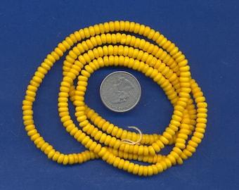 """36"""" strand of 5mm bone beads:  Yellow"""