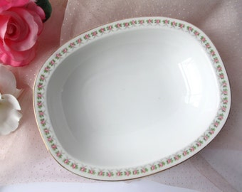 Antique Jaeger Pink Rose German Oval Serving Bowl - French Romantic