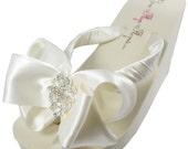Bridal Flip Flops Wedge Lace Rhinestone Satin Antique Rhinestone Bow Wedding Bride platform heel Wedding Ribbon,  brides, bridesmaids