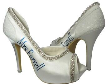 Royal Blue Cobalt mrs last name Wedding Heels/bling rhinestone/diamond Ivory Bridal High Heels Shoes Personalized Peep Toe Satin Pumps Bride