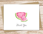 watermelon thank you cards . watercolor watermelon . folded note cards . stationery . summer fruit . birthday . set of 8