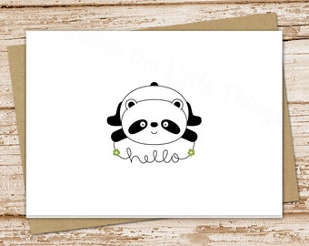 YOU PRINT panda hello cards . greeting cards . note cards, notecards. panda bear . folded stationery . stationary . blank cards . Printable