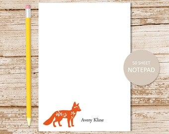 personalized notepad . fox note pad . personalized stationery . stationary . fox silhouette notepad