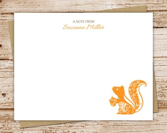 personalized notecard set . filigree squirrel note cards . personalized stationery . flat stationary . set of 10