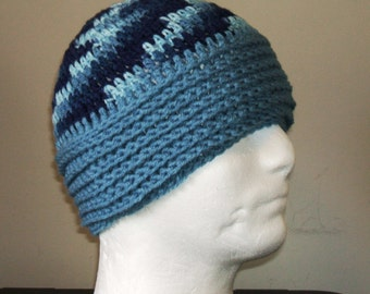 New Blue Partially Ribbed Crochet Unisex Beanie/Hat