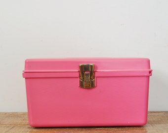 Vintage Pink Sewing Box Small Wil-Hold Plastic Seamstress Craft Supplies Storage