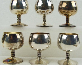 Set of Six Vintage Silver Plate Silverplated Goth Stemmed Wine Goblets With Original Box Madrid Spain New Old Stock Mid Century Steampunk