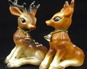 Pair of Vintage Retro Hard Plastic Mid Century Christmas Deer With Bells Around Neck Heads Twist Hard Rubber ATCTTEAM TNTEAM