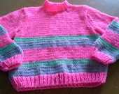 Handknitted Crew Neck Girls Toddlers Childs Pullover Sweater