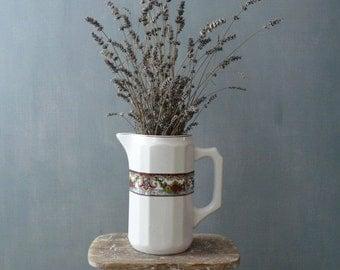 30% OFF SALE / Vintage vase. White ceramic vase with handle. Bavaria Ceramic vase