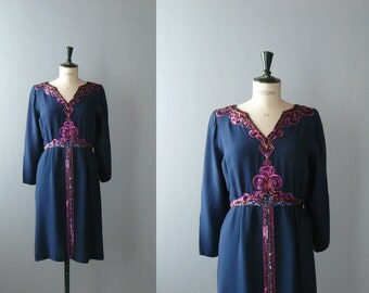 Vintage silk dress. Mila Schon silk dress. 80s blue dress with sequins and beads