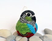 Green Cheek Conure, needle felted bird, wool ornament ball, MADE TO ORDER