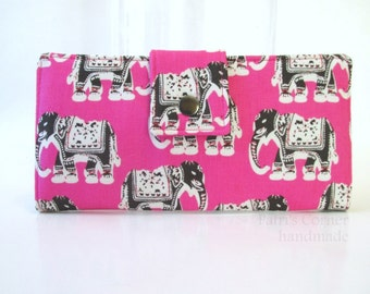CLEARANCE - Handmade women wallet - Pink with brown elephants - Lucky elephant - ready to ship - gift for her - on sale