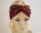 Boho Twist Turban Headband, Bohemian Turban Headband, Brown Paisley Headband, Moroccan Headband, Gypsy Turban Headband
