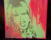 Patsy Stone painting Abfab Absolutely Fabulous show fan art street art canvas painting spray paint original stencil