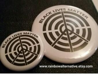 Black Lives Matter donation button pins badges original design by Rainbow Alternative / magnet pinback button