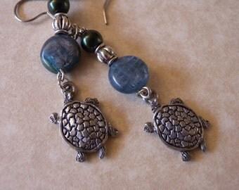 Sea Greens - Pearl and Shell Turtle Earrings - Turtle Totem, Turtle Island, Pet Turtle, Aquatic, Ocean, Diving, Snorkeling, Marine Biology