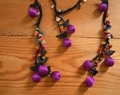 lariat necklace, purple black