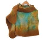 mustard and aqua felted silk scarf