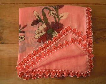 peach scarf, beaded turkish oya scarf