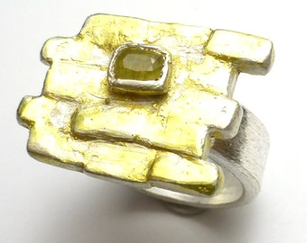 Yellow Brick Road Ring Wizard of OZ Fine Silver Gold Yellow Sapphire One of a Kind Lisajoy Sachs Design Precious Recycled Metal Clay PMC