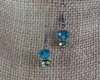 Teal and metallic iridescent glass bead earrings