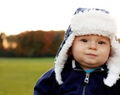 Baby Boy Earflap Hat Aviator Hat Bomber Hat Cap - Blue Plaid
