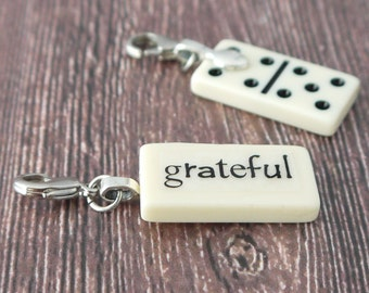 GRATEFUL Charm Mini Domino Clip on Pendant by Kristin Victoria Designs Christian Gift Sister Godmother Baptism Mother Mother of the Bride
