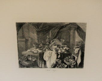 ETCHING-Still-Life by Cornelius De Heem- Book Plate/Steel Engraving-Etching Centaine De Peintres Published by George Barrie-1890