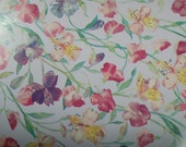 """French New Old Stock, Department Store Wrapping Paper  ~ """"Sweetpeas"""" designed by Mary J. Woodin for by Familyline Inc. ~ approx. 96 yards"""
