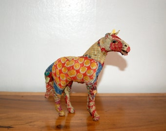 Vintage Repurposed Patchwork Sari Fabric, hand sown over a frame, Horse Sculpture