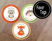 Spring Family, Forest Animal Party Favor Tags with ribbon, Set of 12 Professionally Printed and Personalized, Owl Baby Shower