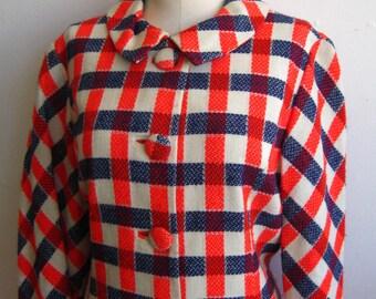 Vintage 60s Designer Mod Woven Plaid Wool Coat Jacket