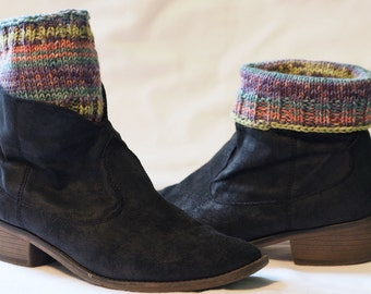 Boot/Sock Tops - Multi Color - Hand knit