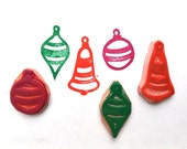 Vintage Christmas Ornaments Rubber Stamp Set - hand carved handmade - ready to ship - DIY wrapping paper, gift greeting card