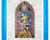 vintage dictionary art ink print 7.75x10.75 inches wind waker link zelda stained glass link with sword dictionary paper